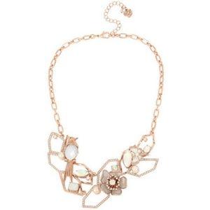 Betsey Johnson ROSE GOLD CRYSTAL FLOWER NECKLACE